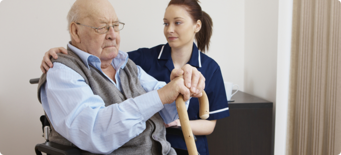 caregiver cares for her patient